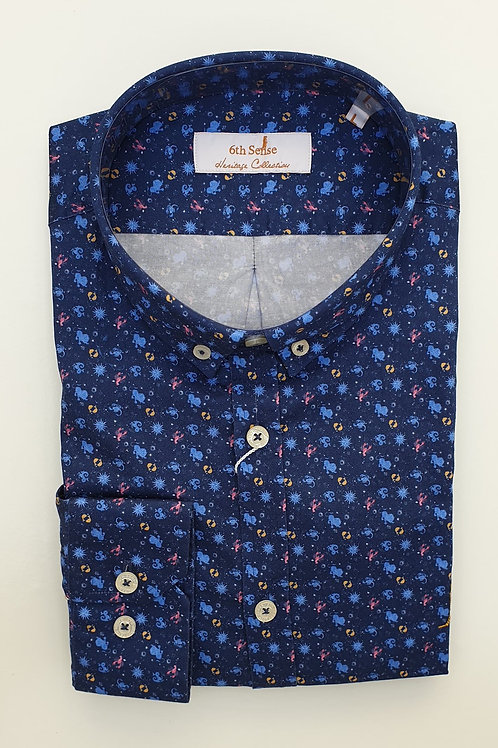 6th Sense Navy Pattern Fitted Shirt 201-HERITAGE-LS-2