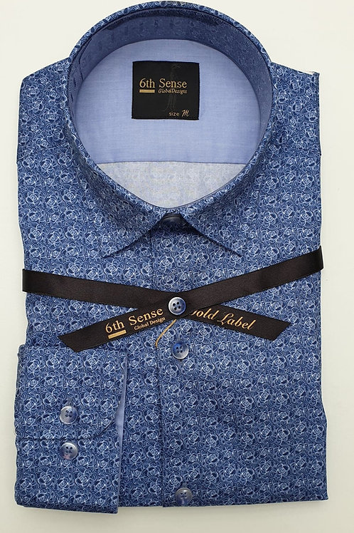 6th Sense Blue Pattern Fitted Shirt 201-SCPRINT -2A