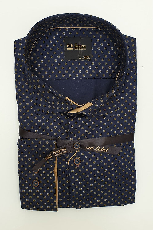 6th Sense Navy Pattern Fitted Shirt 192-CAC-PRINT-39A