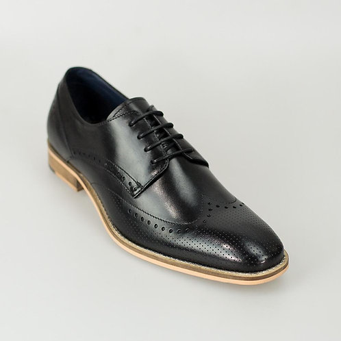 Rome Black Brogue Shoe