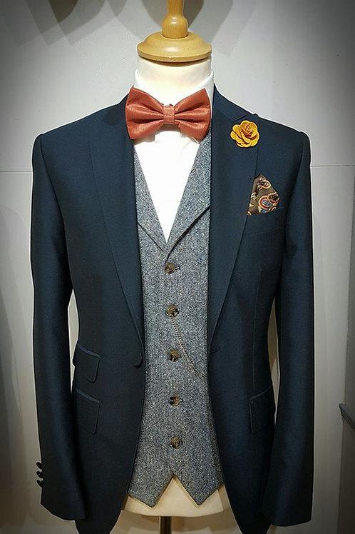 Navy Slim Fit Mohair Lounge Suit