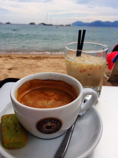 Coffee on the beach in Cannes