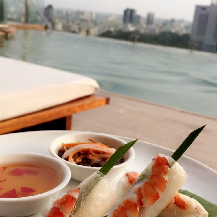 Spring roll on the roof top of Hotel des arts Saigon
