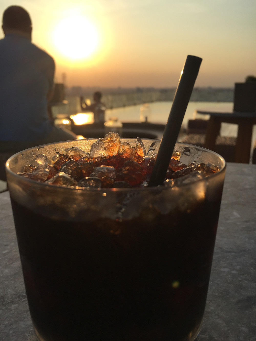 Drinking my ice coffee in the sunset in Ho Chi Minh City