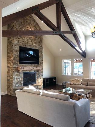 House on the hill Winter Creek Rd Rebuild - Modern Farmhouse Living Room