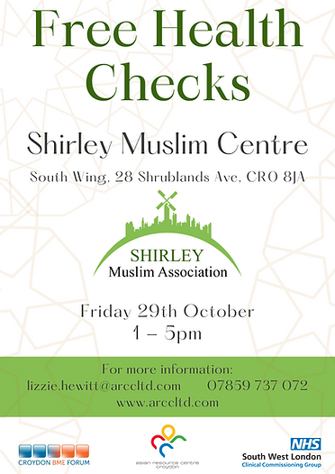 Poster. Shirley Muslim Centre. Fri 29 Oct. Health Check.png