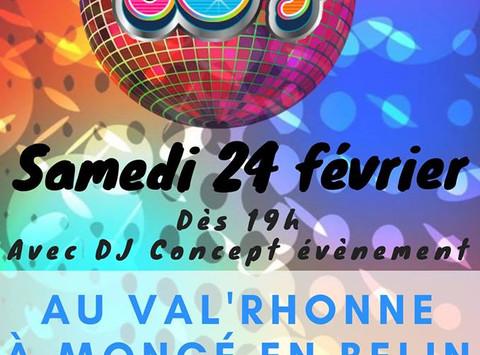 Soirée Années 80 @ Le Val Rhonne @ Moncé en Belin. Remerciements au public et aux bénévoles qui ont