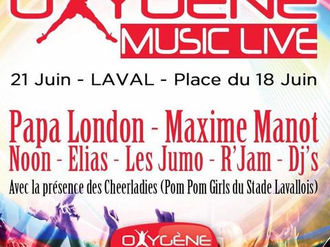 Oxygène Music Live @ Fête de la Musique 2016 @ Laval (53000)… DJ set avec R.JAM devant plusieurs mil