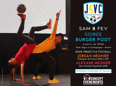 Soirée Burger Foot JSVC 2020 @ Espace Vègre et Champagne @ Brulon. 2 incroyables shows de freestyle