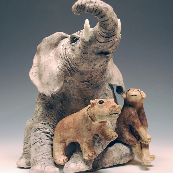 Elephant, hippo and chimp