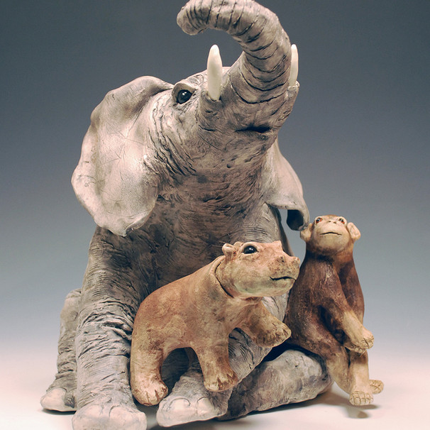 Elephant, hippo and chimp