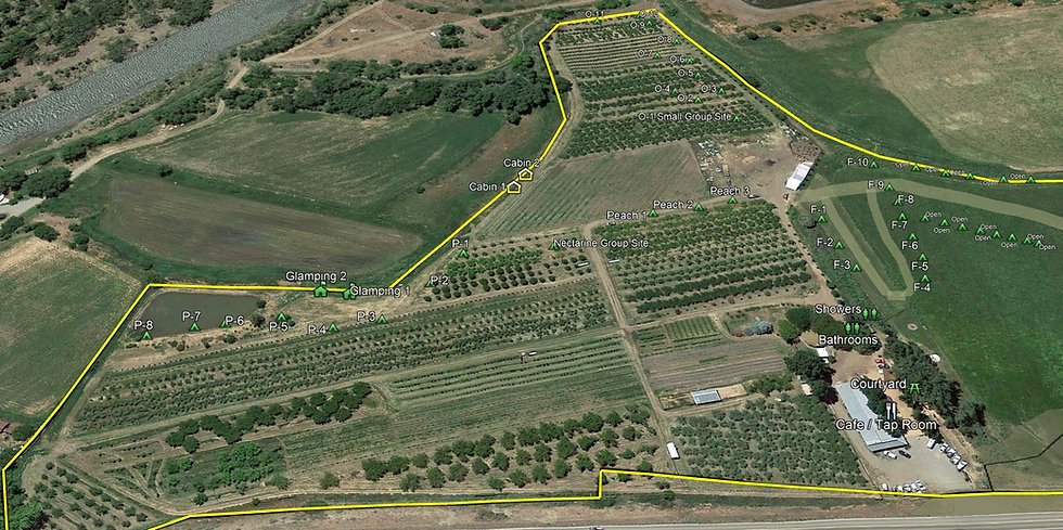 Aerial of Delicious Orchards Campground.
