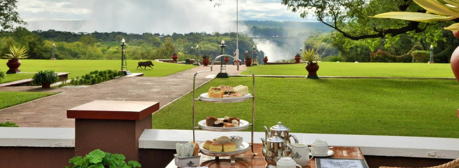 View of Victoria Falls from the verandah of the Victoria Falls Hotel