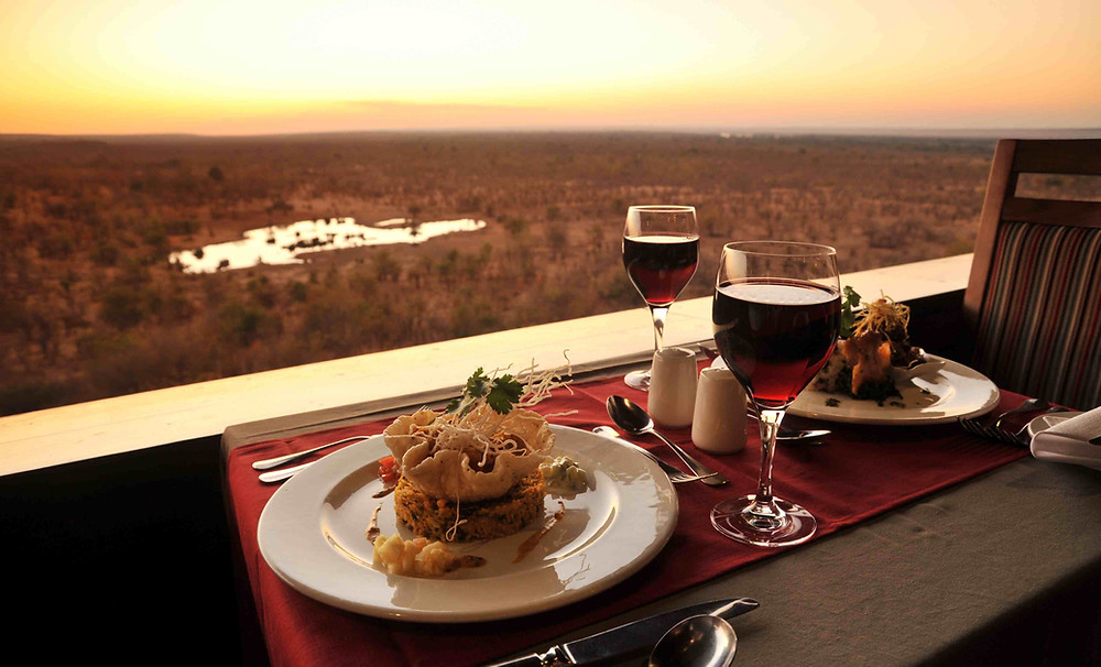 Your view at dinner when at Victoria Falls Safari Lodge