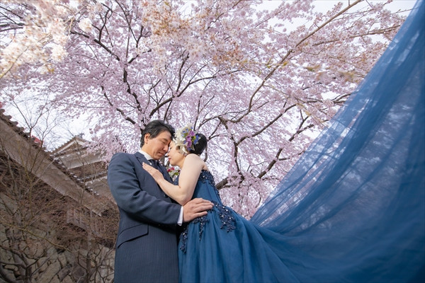 上田城と新郎新婦