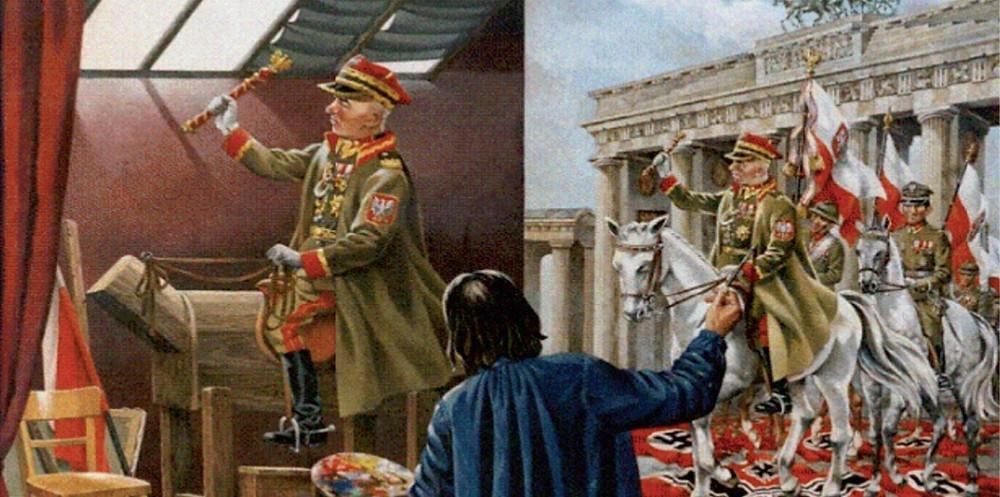 Художник рисует торжественный вьезд маршала Рыдз-Смиглово в поверженный Берлин. Картина, найденная немцами в захваченной Варшаве.