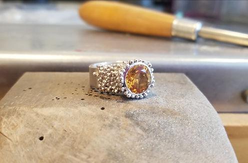 handmade silver ring with citrine bague en argent et citrine granulation fine jewelry bijoux de createurs