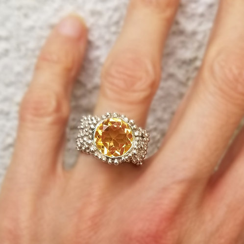 Silver ring with 10mm citrine