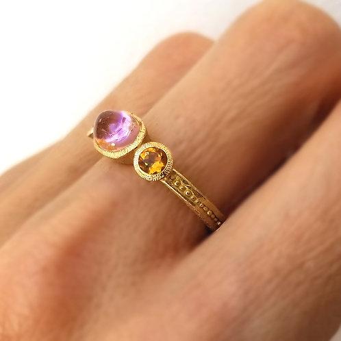 Princesse GM ring with pink and orange tourmalines