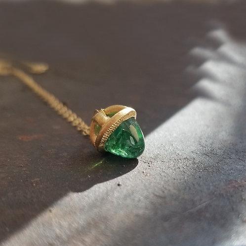 Precious green tourmaline nest pendant