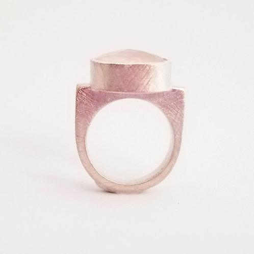 bague argent e quartz rose à facettes