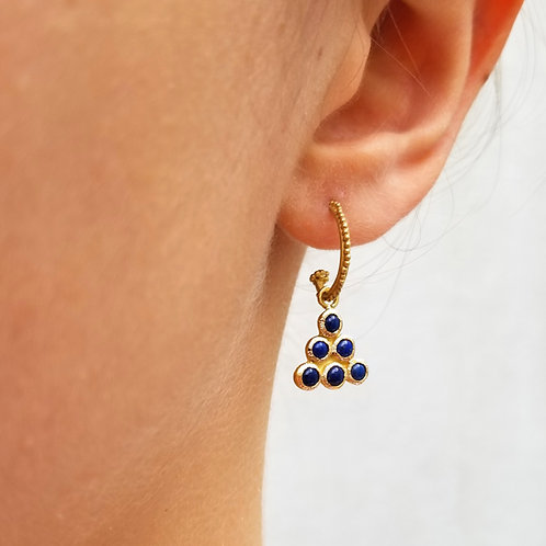 2 hoops and charms 6 lapis lazulis