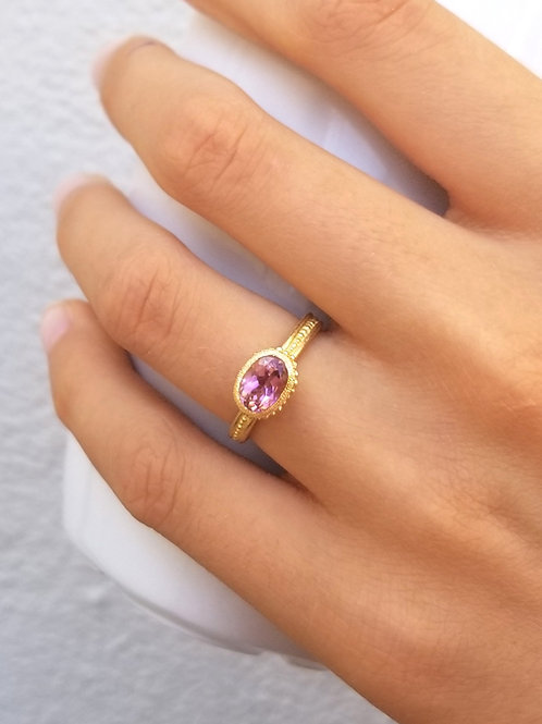 Roma ring ovale- pink