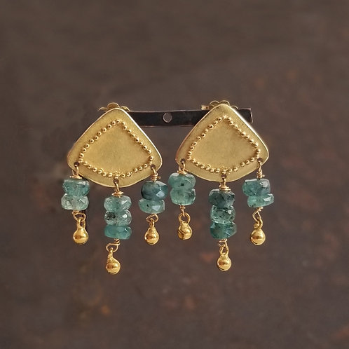 Gold, granulation and tourmaline earrings.