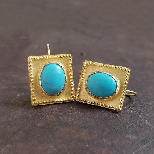 Boucles d'oreilles turquoises sur or