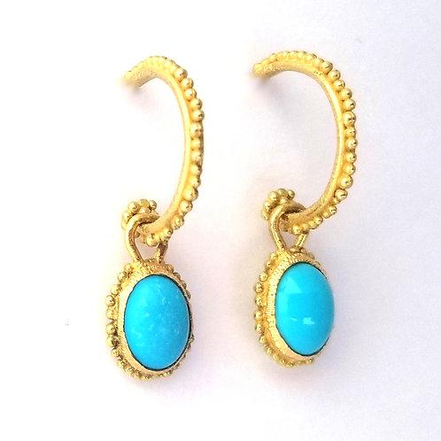 2 créoles et 2 pendents en or et turquoises