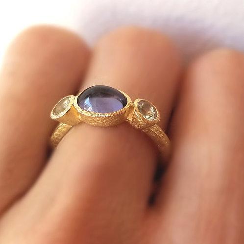 Princess ring with iolite and aquamarines