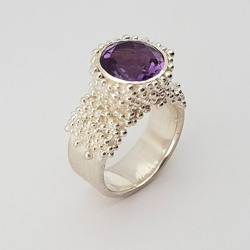 Silver granulation Ring with amethyst 10 mm