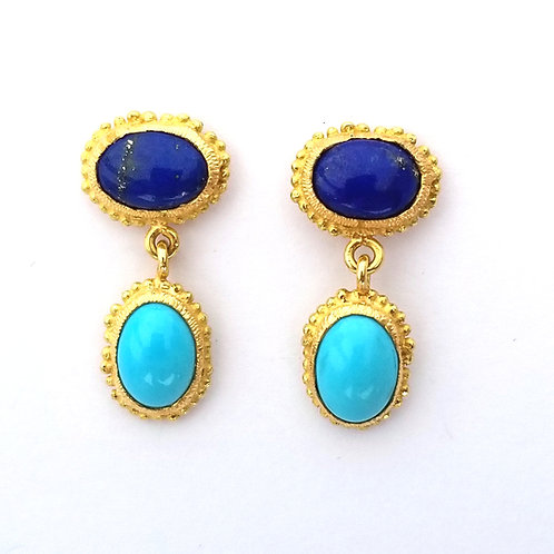2 double cabochon blue earrings