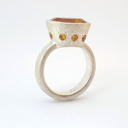Silver ring with  citrine