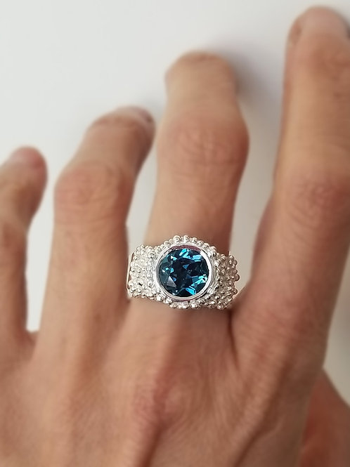 Bague granulation  Topaz blue London