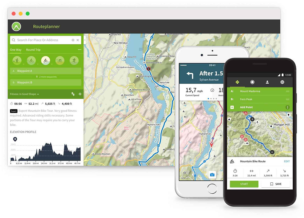 Komoot navigation  map for cycling, hiking and trekking.