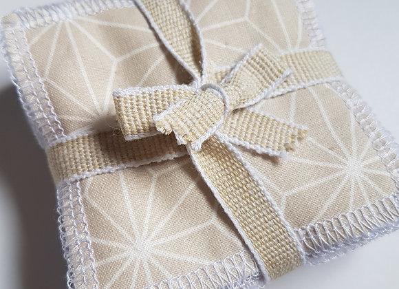 Lot de 10 carrés coton lavables * Sable*