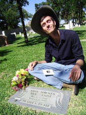 Bob @ Townes Van Zandt's grave, Fort Worth TX