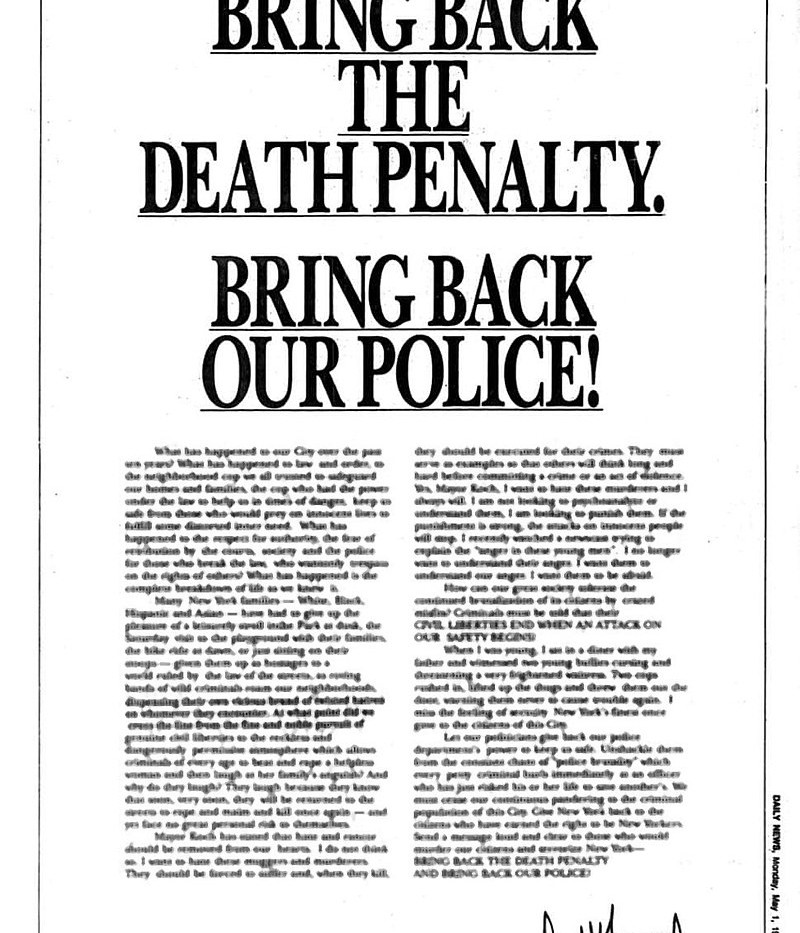 Full-page Ad taken out by Donald Trump in reaction to the attack in Central Park