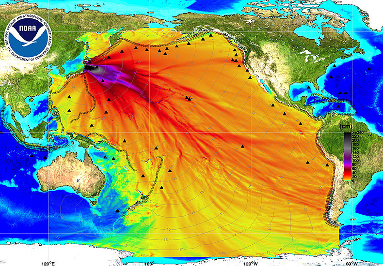 Radioactive water currents following the disaster