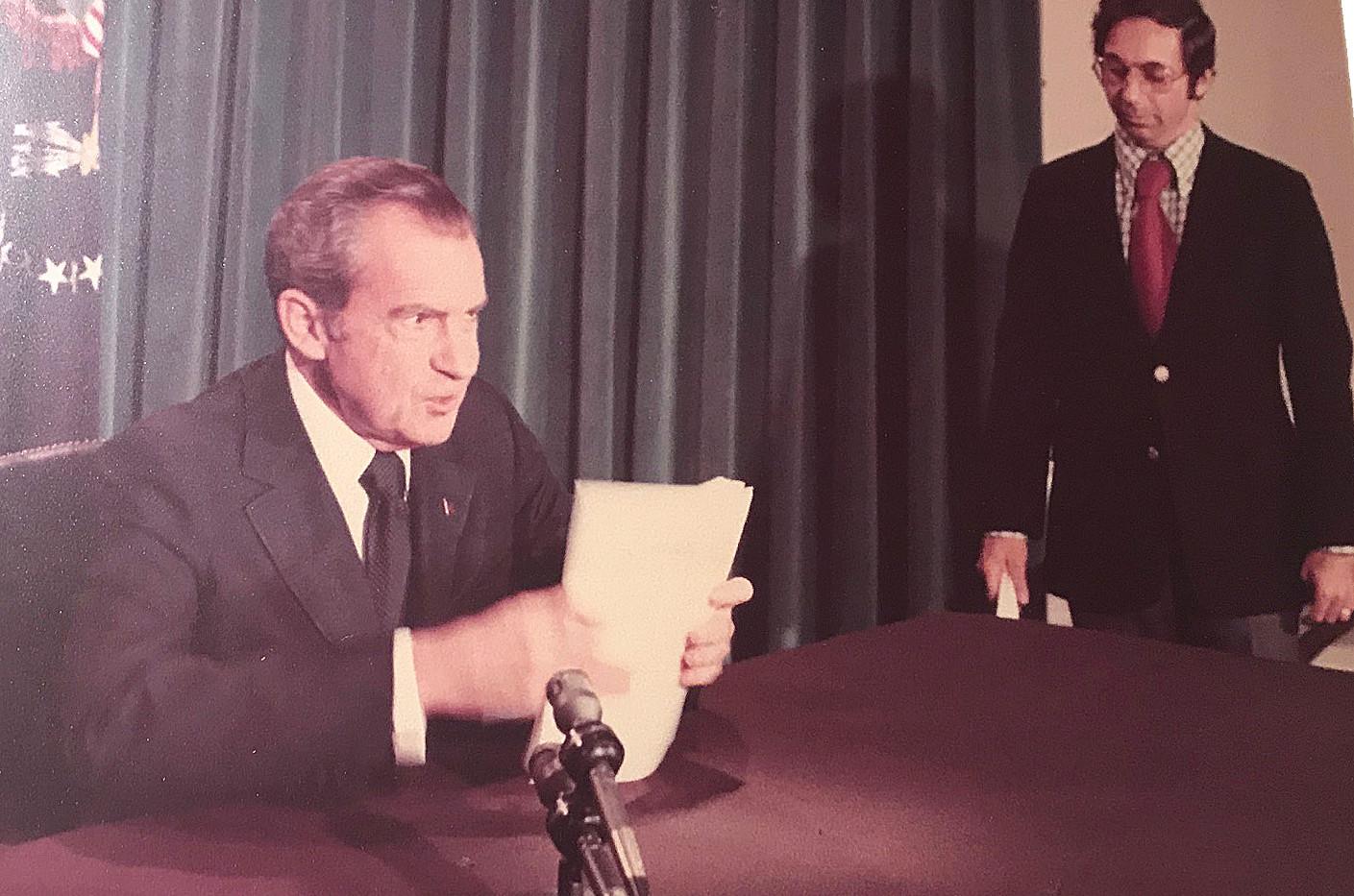 Richard Nixon resigns following the Watergate Scandal