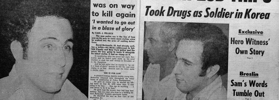 Newpapers report the arrest of David Berkowitz AKA Son of Sam