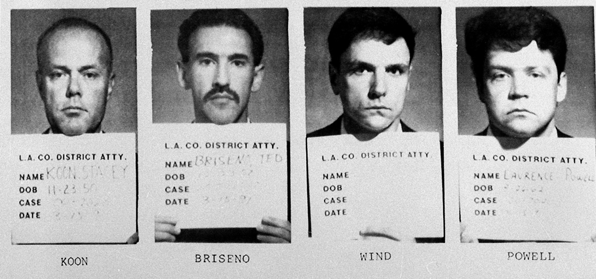 The officers arrested and charged in the beating of Rodney King