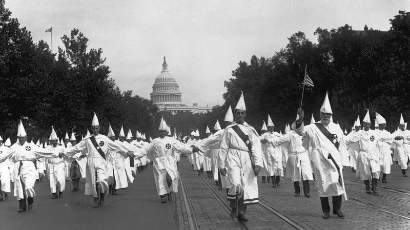 Klu Klux Klan members march in Washington, DC