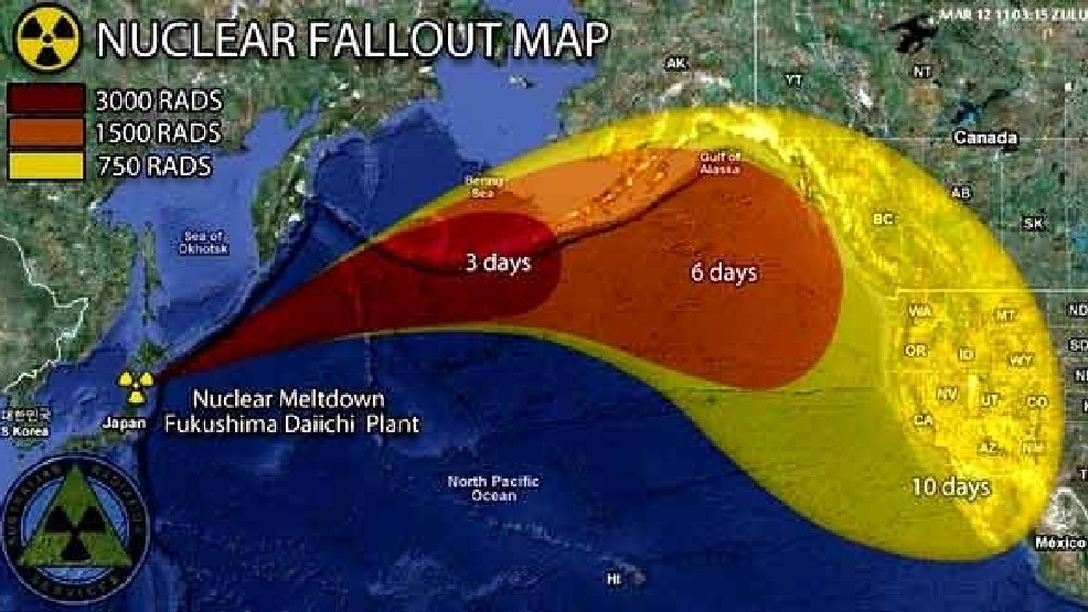 Map of aerial nuclear fallout