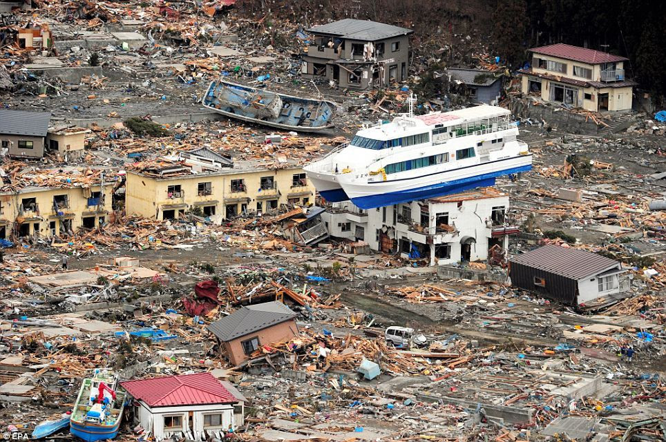 Descruction in the aftermath of the 2011 Tsunami