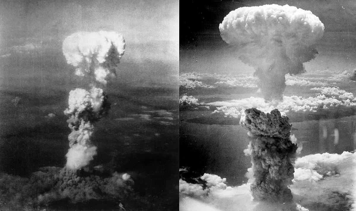 Hiroshima bombing (L) and Nagasaki bombing (R)