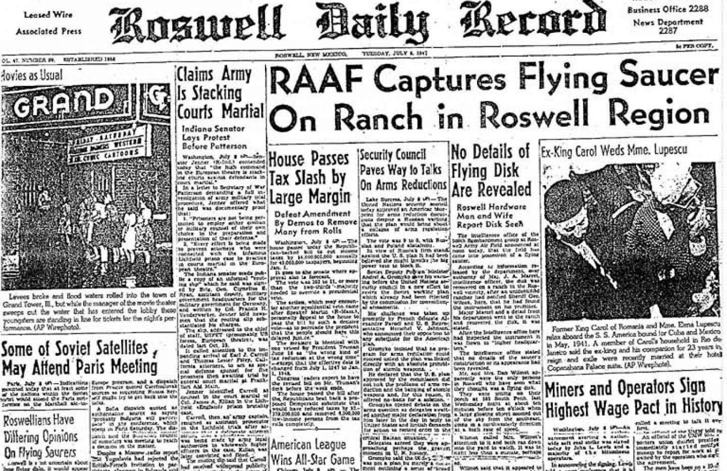 Roswell headlines after the 1947 crash