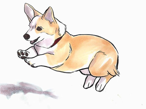 """BUTTERSCOTCH CORGI"" 4 x 6 Print"