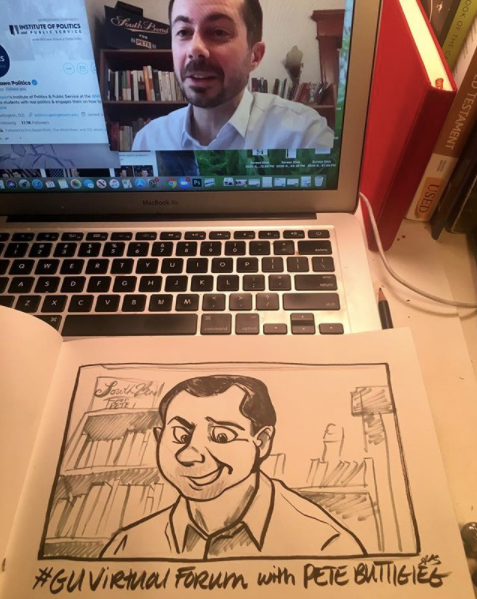 Pete Buttigieg Live Virtual Political Cartoon